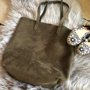Old navy olive green faux suede tote bag